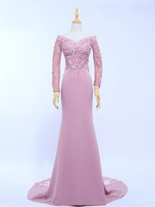 Super Off The Shoulder Long Sleeves Prom Party Dress Brush Train Lace and Appliques Lilac Chiffon