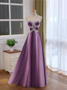 Multi-color Lace Up Prom Gown Beading and Ruching Sleeveless