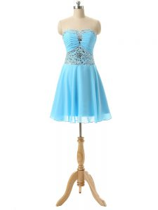 Empire Evening Dress Baby Blue Sweetheart Chiffon Sleeveless Mini Length Lace Up