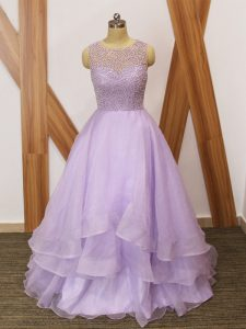 A-line Sleeveless Lavender Prom Gown Brush Train Zipper