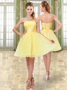 Affordable Sleeveless Mini Length Beading and Ruching Lace Up Prom Dress with Yellow