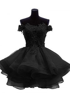 Custom Made Off The Shoulder Sleeveless Mini Length Beading and Lace and Appliques and Ruffles Black Organza