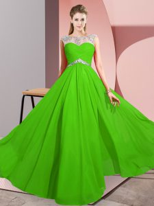 Sexy Green Clasp Handle Prom Gown Beading Sleeveless Floor Length