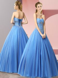 Baby Blue A-line Sweetheart Sleeveless Tulle Floor Length Lace Up Beading Prom Party Dress