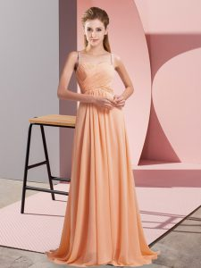 Luxury Criss Cross Prom Gown Orange for Prom and Party with Ruching Sweep Train