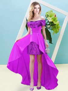 Suitable Elastic Woven Satin and Sequined Short Sleeves High Low Prom Gown and Beading
