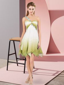 Customized Sleeveless Lace Up Asymmetrical Beading Homecoming Dress