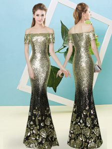 Low Price Gold Short Sleeves Sequined Zipper Prom Dresses for Prom and Party