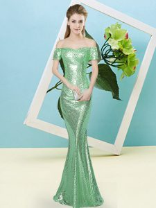 Trendy Floor Length Zipper Homecoming Dress Turquoise for Prom and Party with Sequins