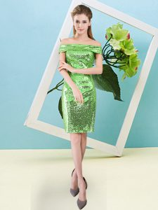 Ideal Sequined Zipper Off The Shoulder Short Sleeves Mini Length Prom Gown Sequins