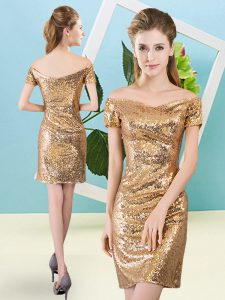 Exceptional Off The Shoulder Short Sleeves Homecoming Dress Mini Length Sequins Gold Sequined
