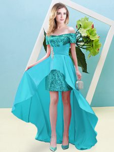 Gorgeous High Low Lace Up Aqua Blue for Prom and Party with Beading