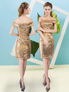 Colorful Mini Length Gold Prom Evening Gown Sequined Short Sleeves Sequins