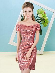 Off The Shoulder Short Sleeves Prom Dresses Mini Length Sequins Coral Red Sequined