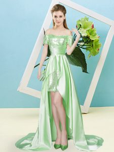 Sequins Dress for Prom Lace Up Short Sleeves High Low