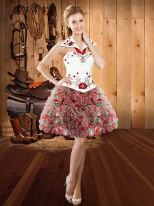 Sleeveless Fabric With Rolling Flowers Mini Length Lace Up Homecoming Dress in Multi-color with Embroidery