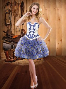 Delicate Sleeveless Lace Up Mini Length Embroidery Homecoming Dress