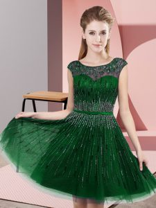 Exceptional Empire Dress for Prom Green Scoop Tulle Sleeveless Knee Length Backless