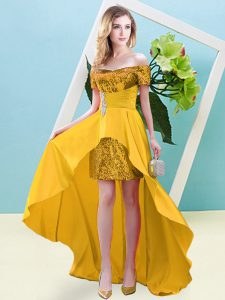 Fashion Gold Empire Off The Shoulder Short Sleeves Elastic Woven Satin and Sequined High Low Lace Up Beading Prom Evening Gown