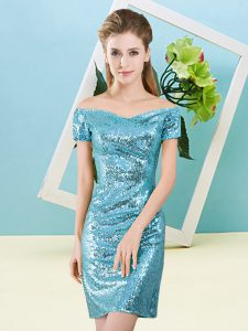 Off The Shoulder Short Sleeves Zipper Prom Evening Gown Aqua Blue Sequined