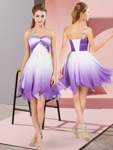 Glamorous Sleeveless Asymmetrical Beading Lace Up Prom Dresses with Multi-color