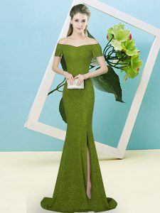 Olive Green Short Sleeves Sequined Sweep Train Zipper Prom Dress for Prom and Party