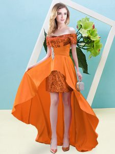 Simple Orange Elastic Woven Satin and Sequined Lace Up Prom Party Dress Short Sleeves High Low Beading
