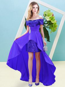 Attractive High Low Empire Short Sleeves Purple Prom Dress Lace Up
