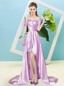 Custom Made Elastic Woven Satin and Sequined Off The Shoulder Short Sleeves Zipper Sequins Dress for Prom in Lilac