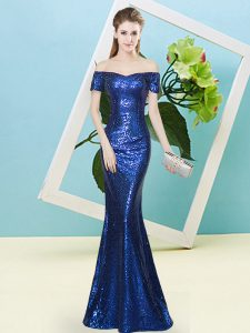 Classical Sequined Short Sleeves Floor Length Prom Gown and Sequins