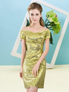 Mini Length Zipper Prom Dresses Yellow for Prom and Party with Sequins
