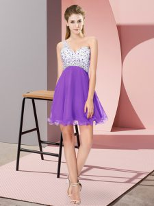 Simple Sleeveless Criss Cross Mini Length Beading Evening Dress