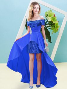 Short Sleeves Ankle Length Beading Lace Up Evening Dress with Blue
