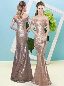 Extravagant Floor Length Gold Prom Party Dress Off The Shoulder Short Sleeves Zipper