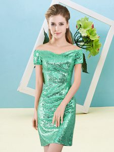 Turquoise Column/Sheath Off The Shoulder Short Sleeves Sequined Mini Length Zipper Sequins Dress for Prom