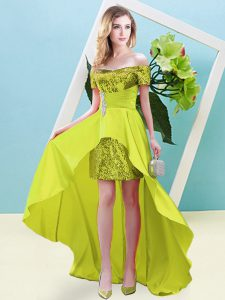 Amazing Yellow Elastic Woven Satin and Sequined Lace Up Prom Dresses Short Sleeves High Low Beading