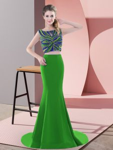 Ideal Green Two Pieces Satin Scoop Sleeveless Beading and Pick Ups Backless Prom Gown Sweep Train