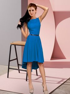 Fancy Blue Empire Scoop Sleeveless Belt High Low Lace Up Prom Party Dress