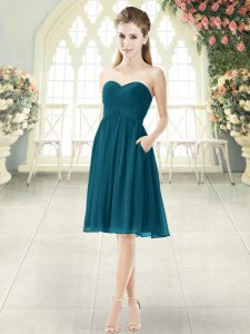 Nice Peacock Green Evening Dress Prom and Party with Ruching Sweetheart Sleeveless Zipper