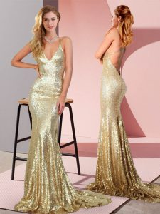Admirable Gold Backless Prom Dresses Ruching Sleeveless Sweep Train
