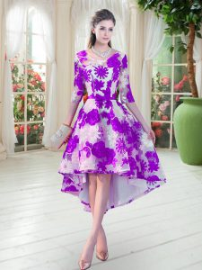 White And Purple Half Sleeves Lace Lace Up Prom Dresses for Prom and Party