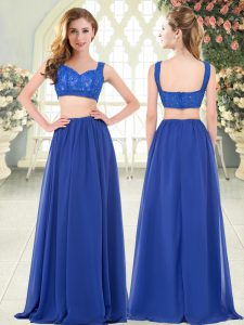 Royal Blue Sleeveless Beading and Lace Floor Length Prom Evening Gown