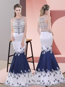 Fashion Scoop Sleeveless Evening Dress Floor Length Embroidery Blue And White Satin