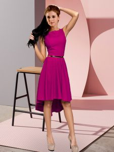 Sumptuous Empire Prom Party Dress Fuchsia Scoop Sleeveless High Low Lace Up