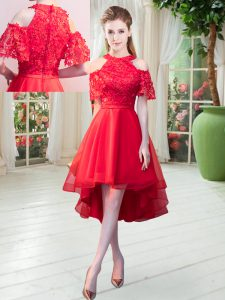 Red High-neck Neckline Lace Homecoming Dress Short Sleeves Zipper