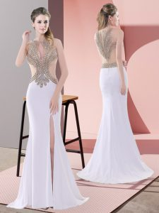 Best White Prom Gown Chiffon Sweep Train Sleeveless Beading and Lace