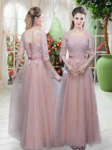 Excellent Pink Tulle Lace Up Scoop Half Sleeves Floor Length Homecoming Dress Lace