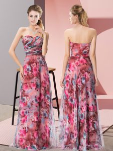 Clearance Multi-color Empire Pattern Dress for Prom Zipper Printed Sleeveless Floor Length