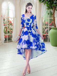 High Low Blue And White Homecoming Dress Lace Half Sleeves Belt