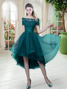 Peacock Green Short Sleeves Lace High Low Prom Evening Gown